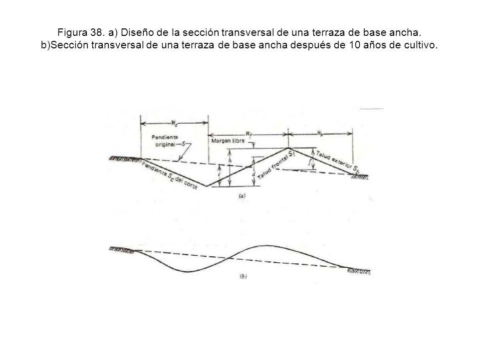 Figura 38. a) Diseño de la sección transversal de una terraza de base ancha.