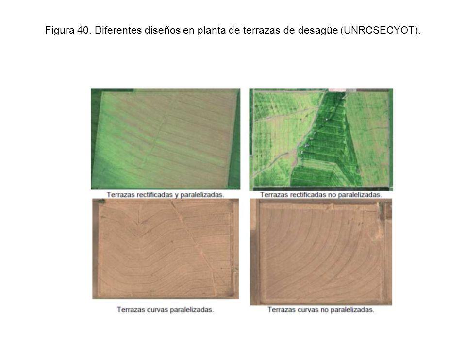 Figura 40. Diferentes diseños en planta de terrazas de desagüe (UNRCSECYOT).