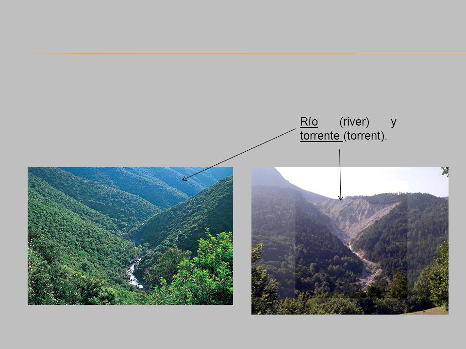 Río (river) y torrente (torrent).