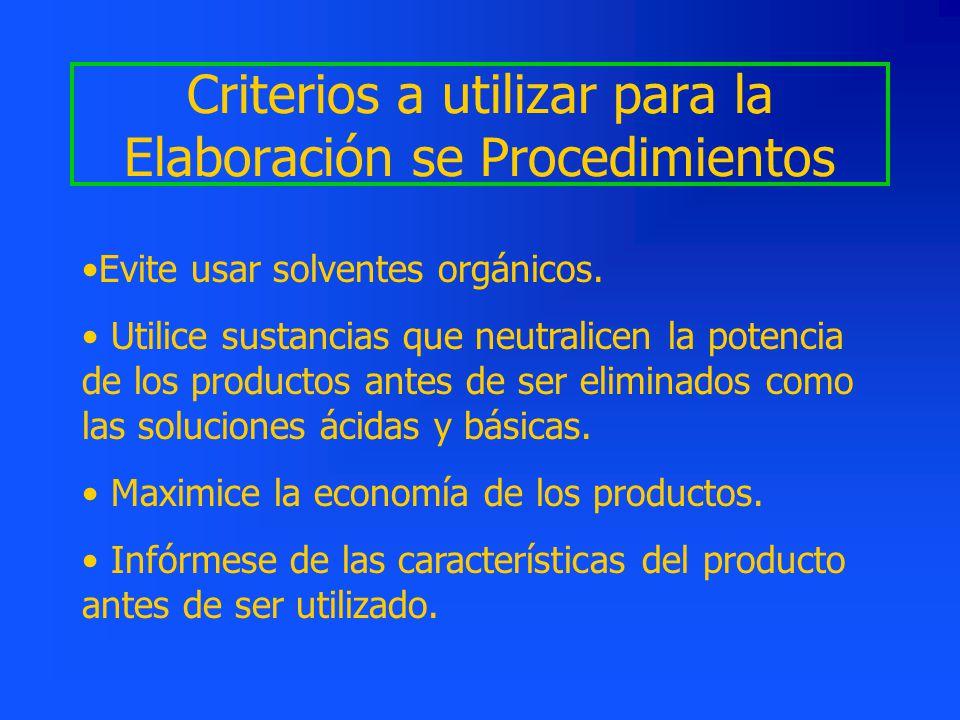 Criterios a utilizar para la Elaboración se Procedimientos