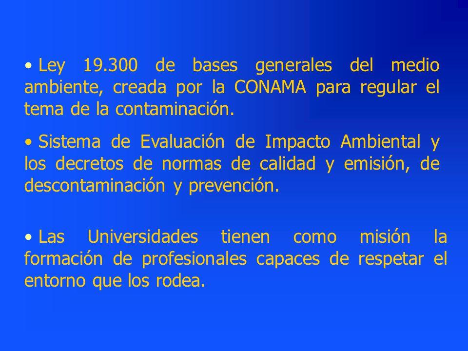 Ley 19.300 de bases generales del medio ambiente, creada por la CONAMA para regular el tema de la contaminación.