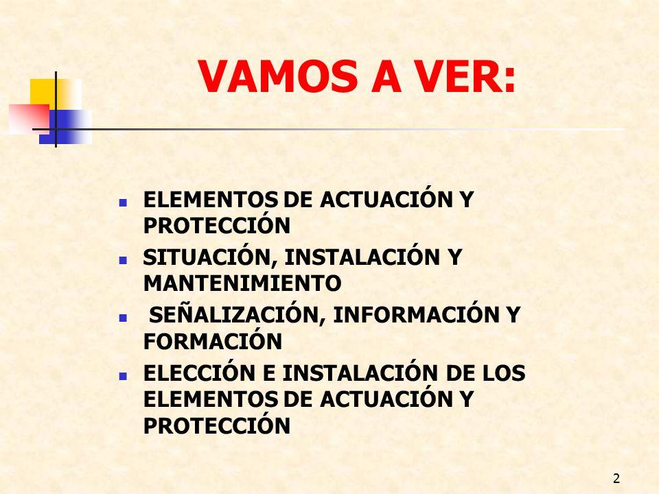 VAMOS A VER: ELEMENTOS DE ACTUACIÓN Y PROTECCIÓN