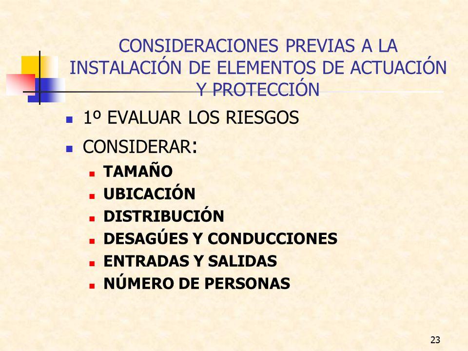 CONSIDERACIONES PREVIAS A LA INSTALACIÓN DE ELEMENTOS DE ACTUACIÓN Y PROTECCIÓN