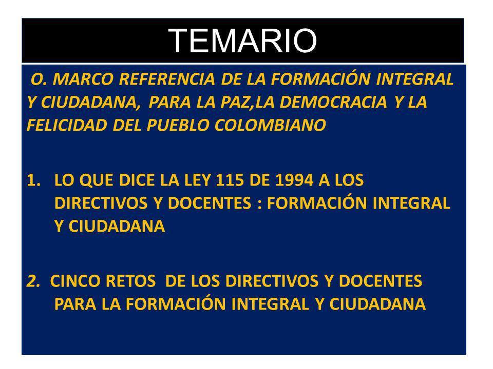 TEMARIOO. MARCO REFERENCIA DE LA FORMACIÓN INTEGRAL Y CIUDADANA, PARA LA PAZ,LA DEMOCRACIA Y LA FELICIDAD DEL PUEBLO COLOMBIANO.