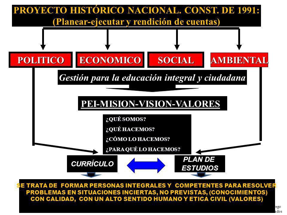 PROYECTO HISTÓRICO NACIONAL. CONST. DE 1991: