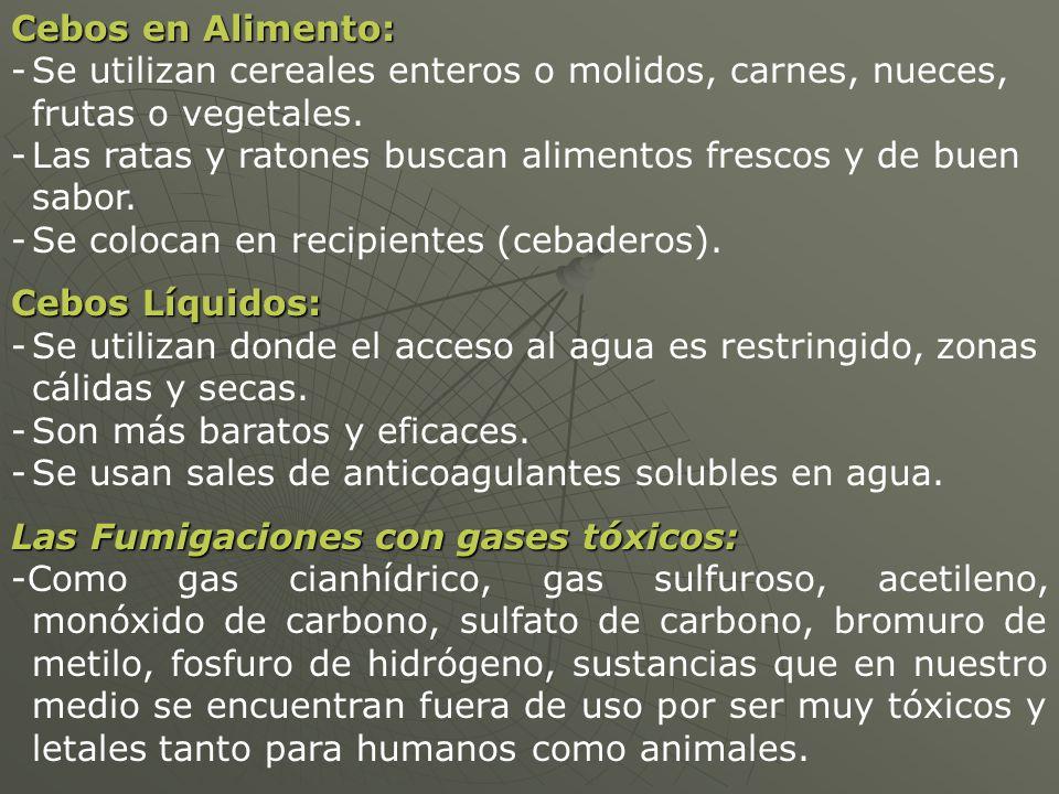Cebos en Alimento: Se utilizan cereales enteros o molidos, carnes, nueces, frutas o vegetales.