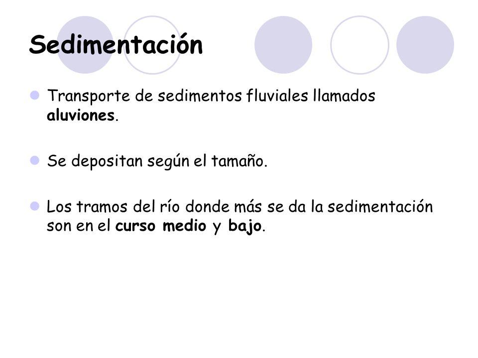 Sedimentación Transporte de sedimentos fluviales llamados aluviones.