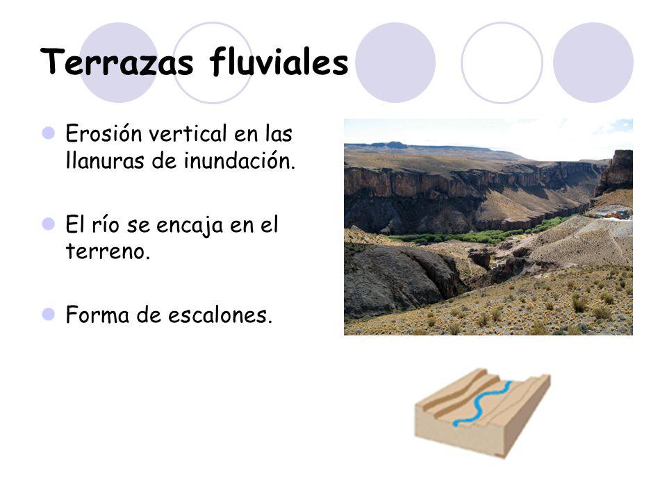 Terrazas fluviales Erosión vertical en las llanuras de inundación.