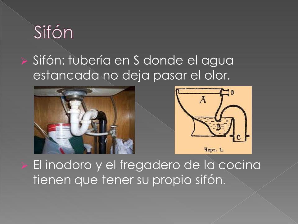 Sifón Sifón: tubería en S donde el agua estancada no deja pasar el olor.
