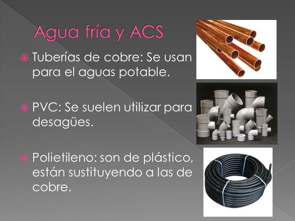 Agua fría y ACS Tuberías de cobre: Se usan para el aguas potable.