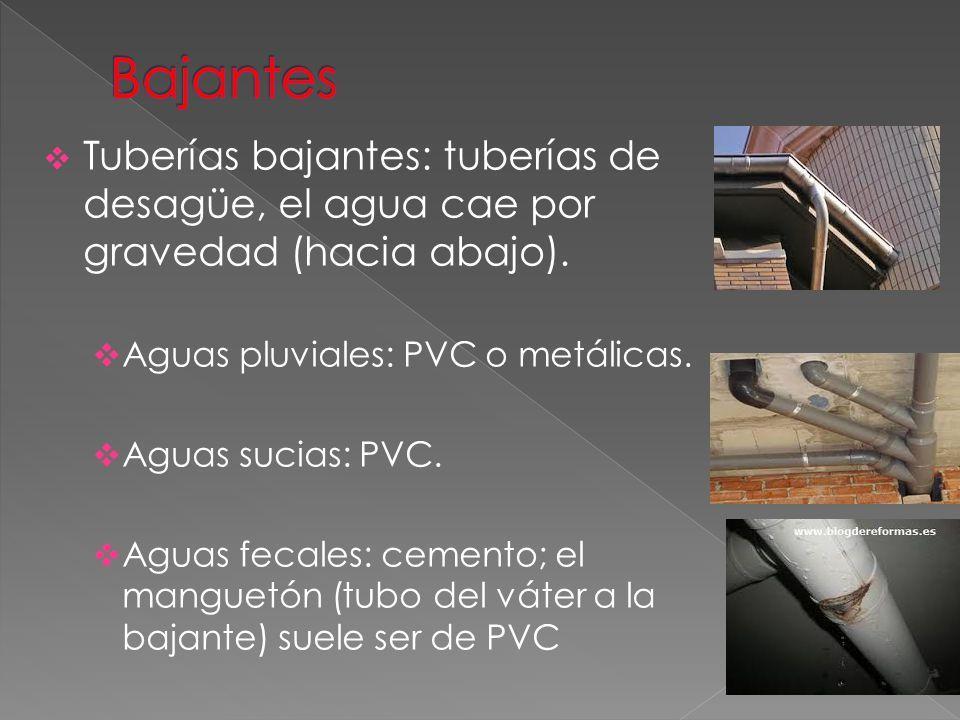 Bajantes Tuberías bajantes: tuberías de desagüe, el agua cae por gravedad (hacia abajo). Aguas pluviales: PVC o metálicas.
