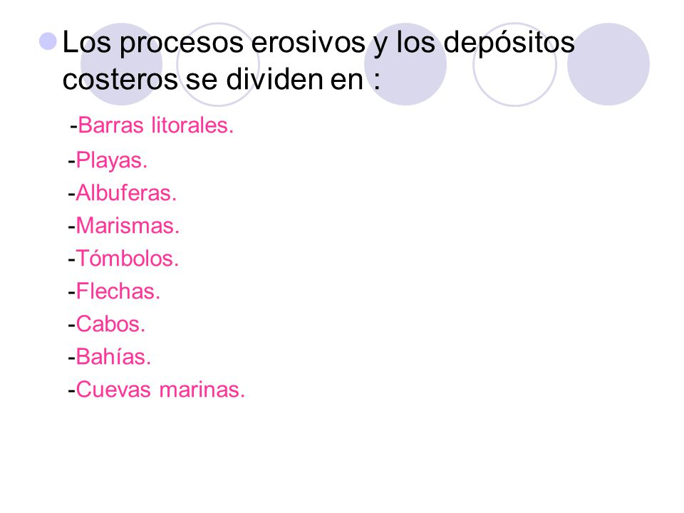 Los procesos erosivos y los depósitos costeros se dividen en :