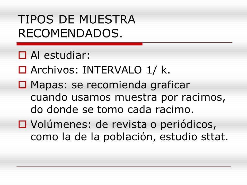 TIPOS DE MUESTRA RECOMENDADOS.