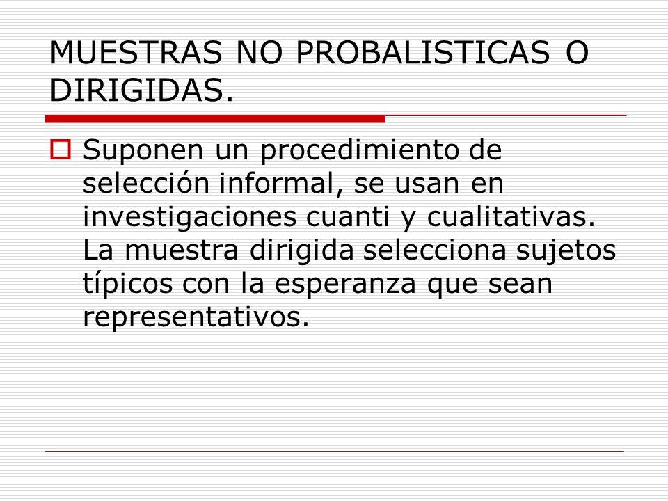 MUESTRAS NO PROBALISTICAS O DIRIGIDAS.