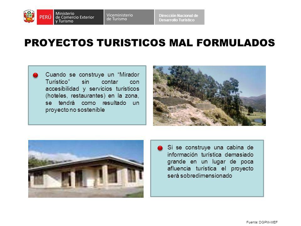 PROYECTOS TURISTICOS MAL FORMULADOS