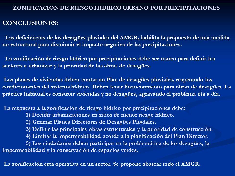 ZONIFICACION DE RIESGO HIDRICO URBANO POR PRECIPITACIONES CONCLUSIONES: Las deficiencias de los desagües pluviales del AMGR, habilita la propuesta de una medida no estructural para disminuir el impacto negativo de las precipitaciones.