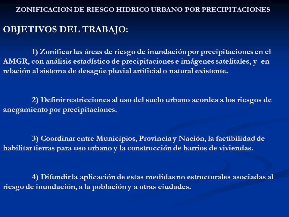 ZONIFICACION DE RIESGO HIDRICO URBANO POR PRECIPITACIONES OBJETIVOS DEL TRABAJO: 1) Zonificar las áreas de riesgo de inundación por precipitaciones en el AMGR, con análisis estadístico de precipitaciones e imágenes satelitales, y en relación al sistema de desagüe pluvial artificial o natural existente.