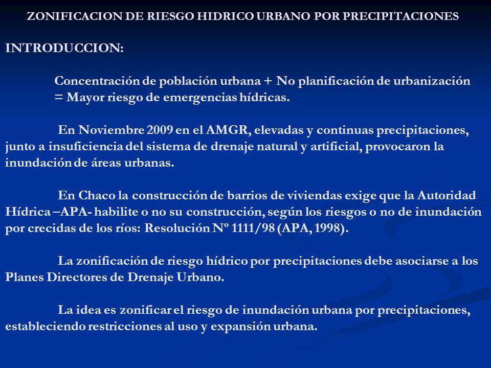 ZONIFICACION DE RIESGO HIDRICO URBANO POR PRECIPITACIONES INTRODUCCION: Concentración de población urbana + No planificación de urbanización = Mayor riesgo de emergencias hídricas.