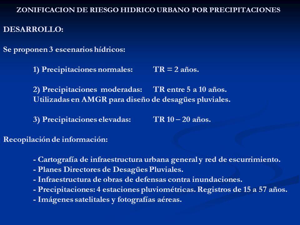 ZONIFICACION DE RIESGO HIDRICO URBANO POR PRECIPITACIONES DESARROLLO: Se proponen 3 escenarios hídricos: 1) Precipitaciones normales: TR = 2 años.