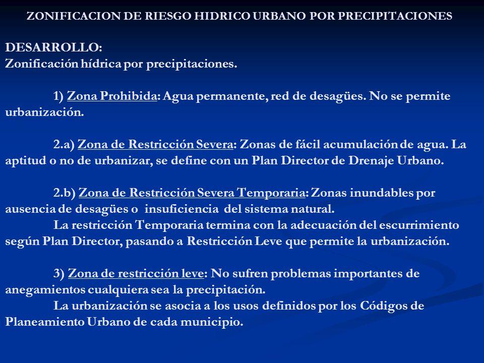 ZONIFICACION DE RIESGO HIDRICO URBANO POR PRECIPITACIONES DESARROLLO: Zonificación hídrica por precipitaciones.