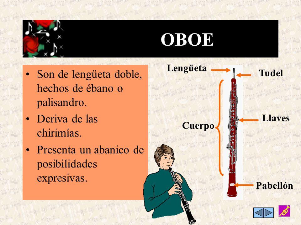 OBOE Son de lengüeta doble, hechos de ébano o palisandro.