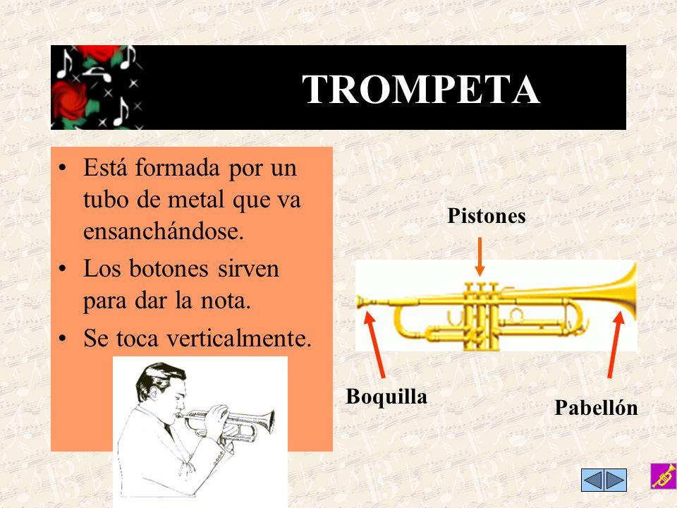 TROMPETA Está formada por un tubo de metal que va ensanchándose.