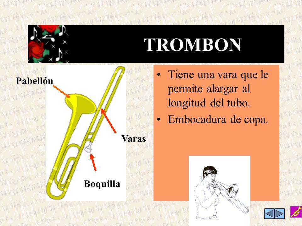 TROMBON Tiene una vara que le permite alargar al longitud del tubo.