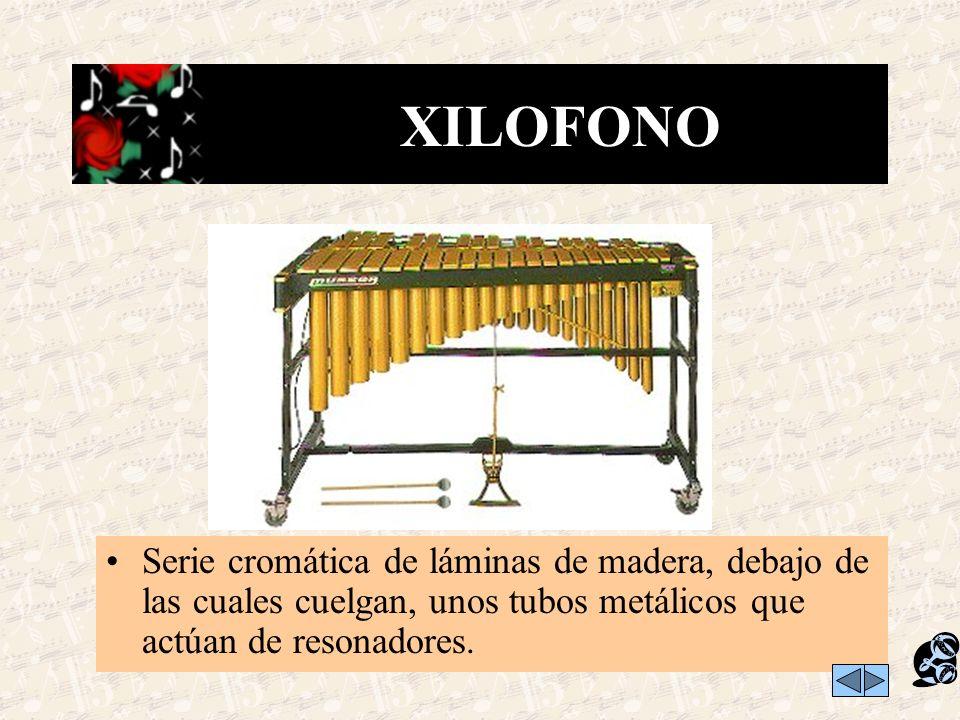 XILOFONO Serie cromática de láminas de madera, debajo de las cuales cuelgan, unos tubos metálicos que actúan de resonadores.