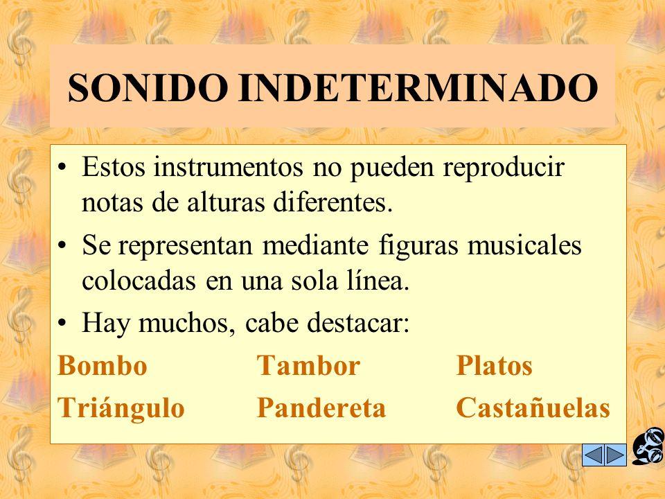 SONIDO INDETERMINADO Estos instrumentos no pueden reproducir notas de alturas diferentes.