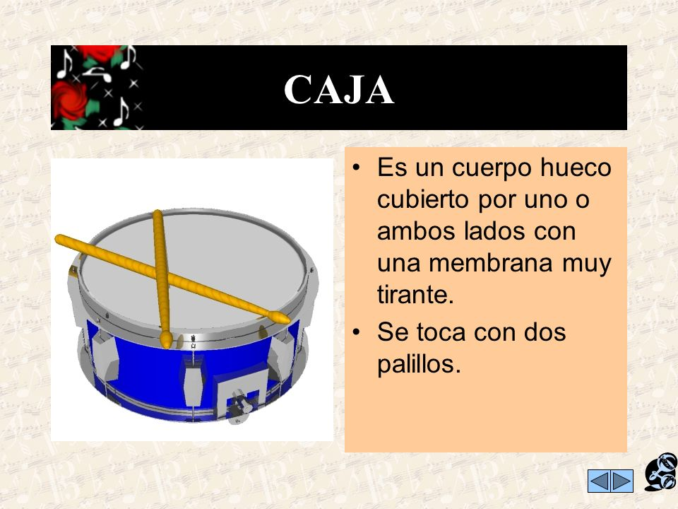 CAJA Es un cuerpo hueco cubierto por uno o ambos lados con una membrana muy tirante.