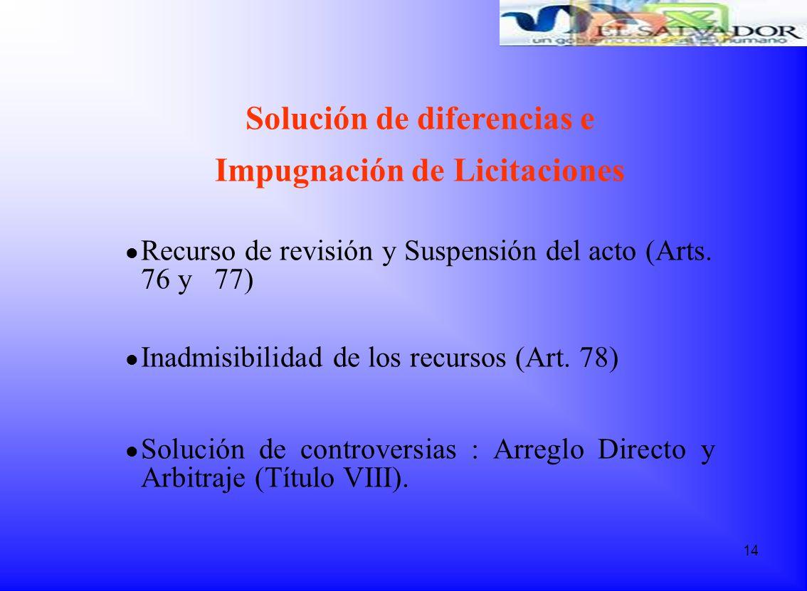 Solución de diferencias e Impugnación de Licitaciones