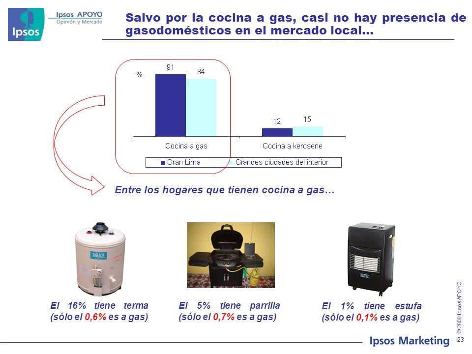 Salvo por la cocina a gas, casi no hay presencia de gasodomésticos en el mercado local…