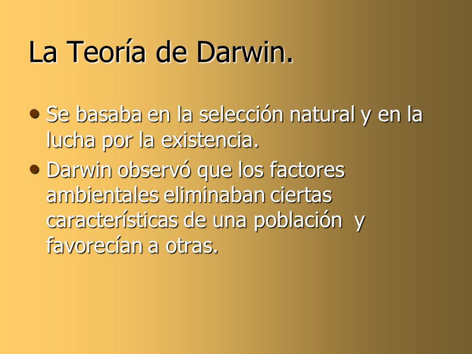La Teoría de Darwin. Se basaba en la selección natural y en la lucha por la existencia.