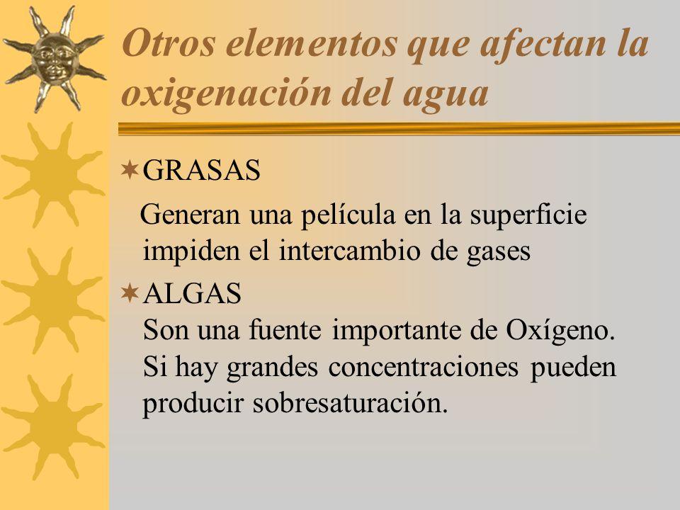 Otros elementos que afectan la oxigenación del agua