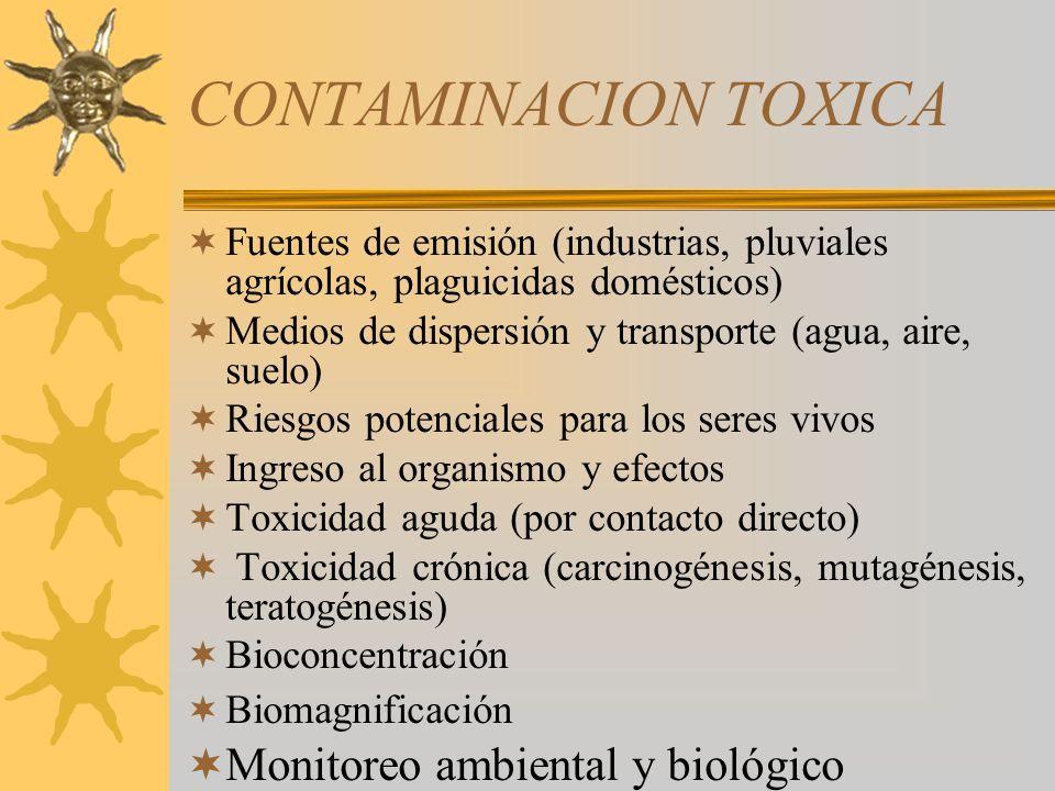 CONTAMINACION TOXICA Monitoreo ambiental y biológico