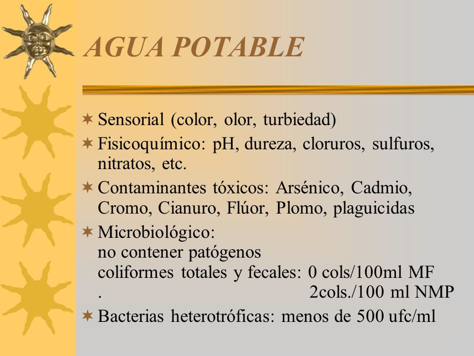 AGUA POTABLE Sensorial (color, olor, turbiedad)