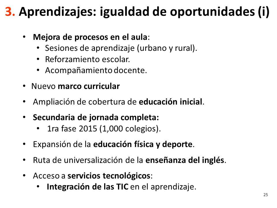 3. Aprendizajes: igualdad de oportunidades (i)