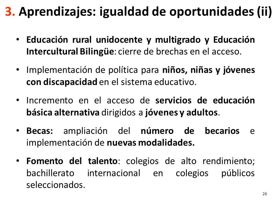 3. Aprendizajes: igualdad de oportunidades (ii)