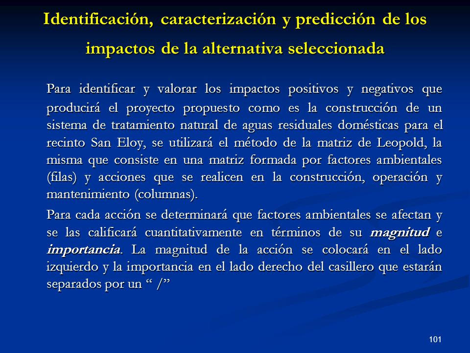 Identificación, caracterización y predicción de los impactos de la alternativa seleccionada