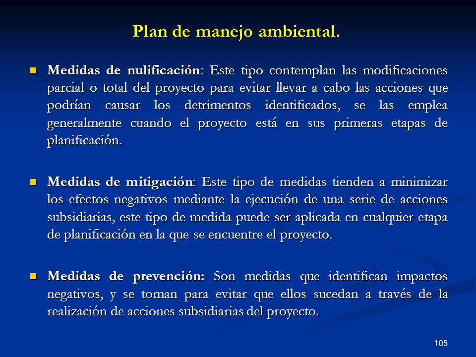 Plan de manejo ambiental.
