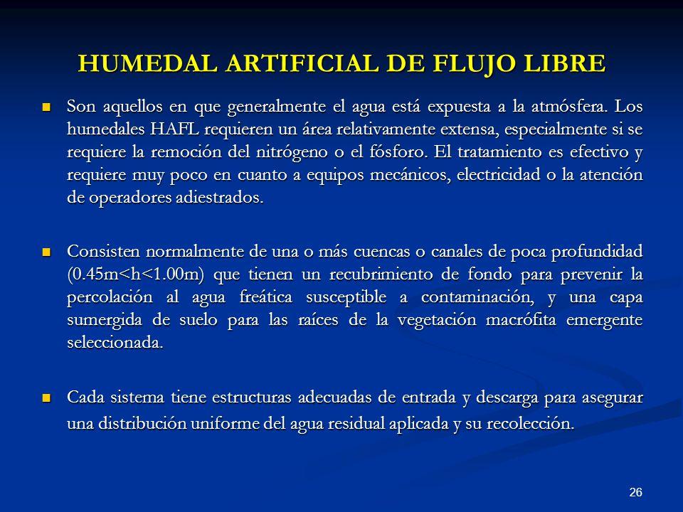 HUMEDAL ARTIFICIAL DE FLUJO LIBRE