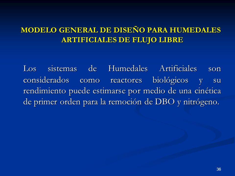 MODELO GENERAL DE DISEÑO PARA HUMEDALES ARTIFICIALES DE FLUJO LIBRE
