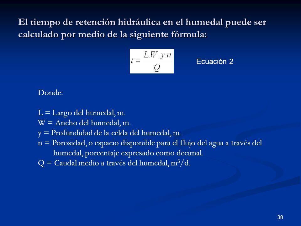 El tiempo de retención hidráulica en el humedal puede ser calculado por medio de la siguiente fórmula: