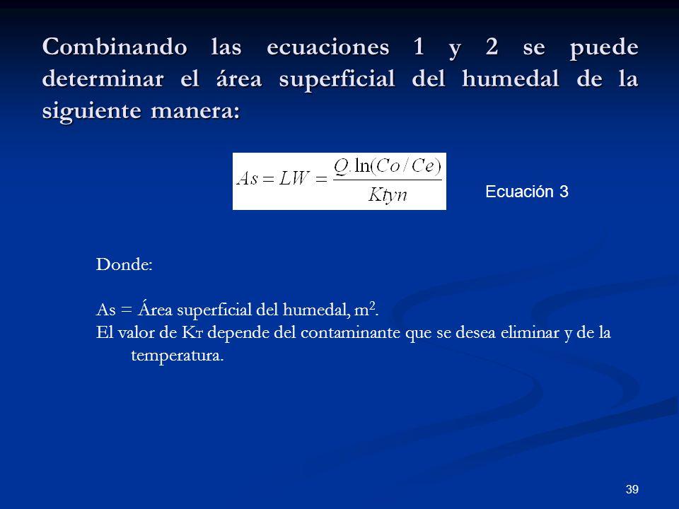 Combinando las ecuaciones 1 y 2 se puede determinar el área superficial del humedal de la siguiente manera: