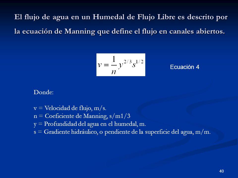 El flujo de agua en un Humedal de Flujo Libre es descrito por la ecuación de Manning que define el flujo en canales abiertos.