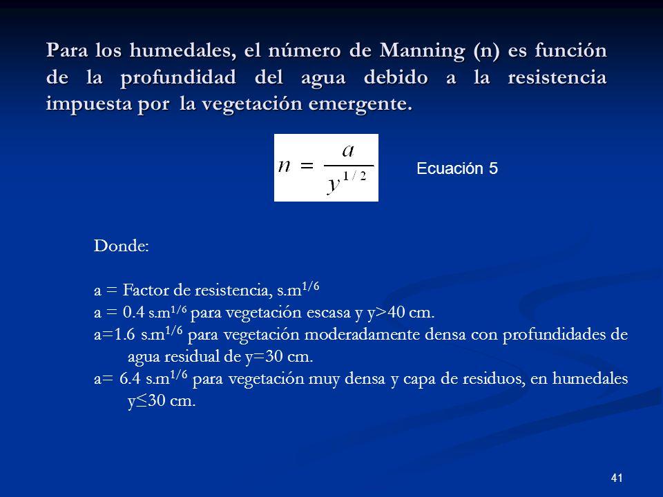 Para los humedales, el número de Manning (n) es función de la profundidad del agua debido a la resistencia impuesta por la vegetación emergente.