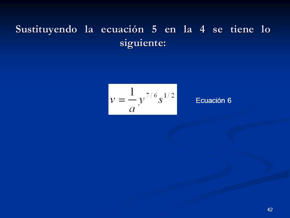 Sustituyendo la ecuación 5 en la 4 se tiene lo siguiente: