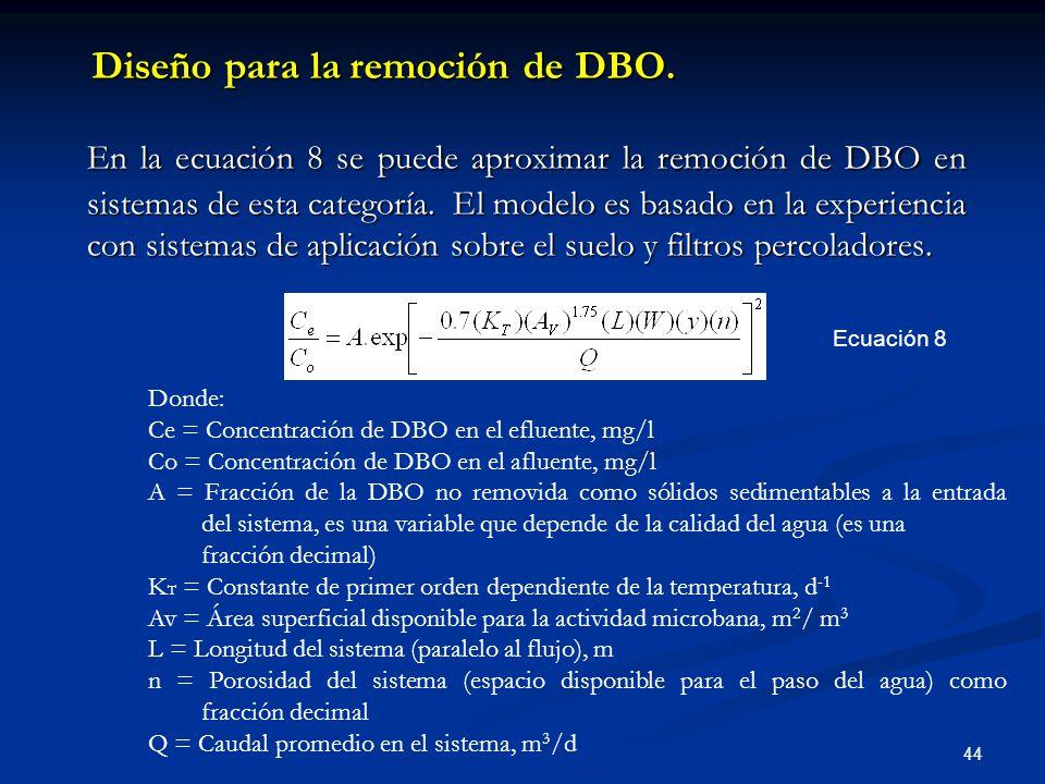Diseño para la remoción de DBO.