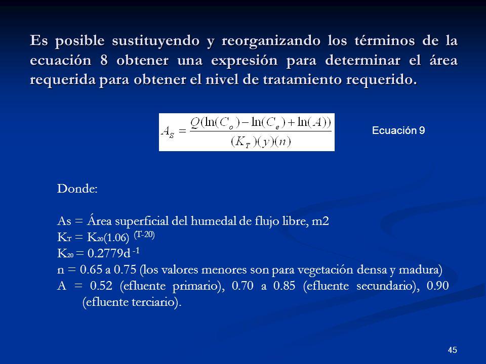 Es posible sustituyendo y reorganizando los términos de la ecuación 8 obtener una expresión para determinar el área requerida para obtener el nivel de tratamiento requerido.