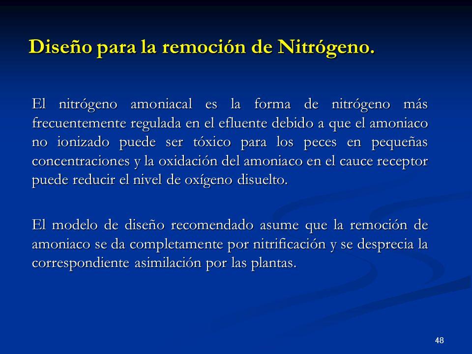 Diseño para la remoción de Nitrógeno.